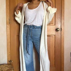 Oversized cream/white full length maxi cardigan